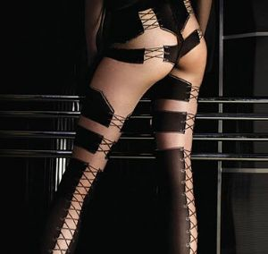 Ballerina 048 Luxury Black & Nude Lace Up Tights
